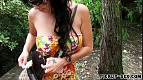 Two busty Eurobabes threesome in public for a few bucks