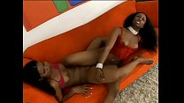 Voluptuous long haired ebony lesbians Kianna Jayde and Strokahontas sucking and playing with dildos on couch