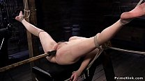 Busty redhead anal fucked in hogtie