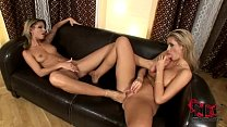 Hot, blond babes enjoy some toe dipping pussy insertions
