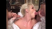 Cheating blonde bride decided to be double pene...