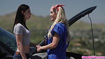 Sexy wife licked by her lesbian mechanic
