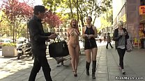 Busty blonde fucked in crowded boutique
