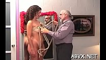 Naked woman outlandish bondage at home with horny man