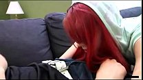 Frustrated redhead sister wakes and fucks her brother