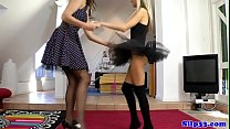 Blonde british teen in tutu trio with oldman