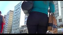 Sexy blonde businesswoman with BIG ASS in tight trousers