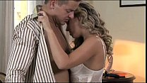 StrapOn Beautiful girl in white lace DP anal as BF wears cock ring strap on nice cumshot thumbnail