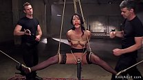 Gagged brunette trainee fuck in dungeon
