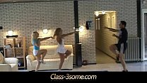 Two babes fucks them fitness instructor