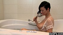 Busty Brunette Rubs Her Pussy In Bath Tub thumbnail