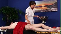 CFNM masseuse stroking clients dong