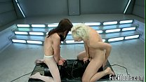 Squirting lesbian babes pussy toyed by machine