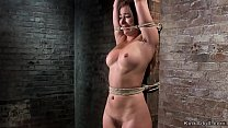 Hogtied and suspended babe fucks Sybian's Thumb