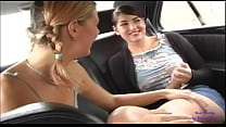 Exhibitionist lesbians have fun touching each other on the street in public 2