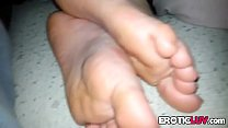 Black guy cums on white feet