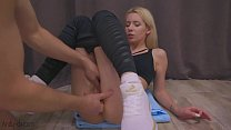 Man Masturbate Pussy Fitness Blonde to Orgasm in the Training