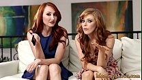 Redhead milf scissoring with busty lesbo teen preview image