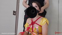 Caged princess gets rough ass to mouth with gnarly butt plug and drinks piss in bondage thumbnail