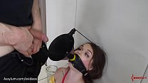 Caged princess gets rough ass to mouth with gnarly butt plug and drinks piss in bondage