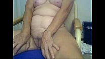 Horny granny fingering in front of cam. Amateur...