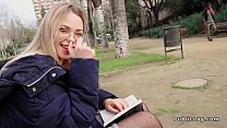 Blonde reading in the public park - 9Club.Top