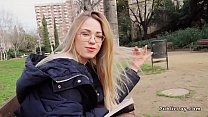 Blonde reading in the public park Image