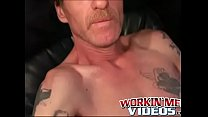 Old man with mustache strokes his long dick until he cums