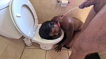 Human toilet indian whore get pissed on and get her head flushed followed b