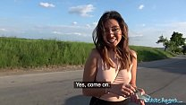 Public Agent Mexican babe Frida Sante gives roadside blowjob and fucking