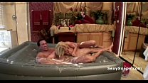 Big boob blonde gives amazing wet blowjob in water bed loaded with soap