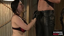 BDSM domme teaches how to dominate with a brush