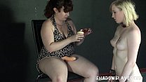 8416 Lesbian feet licking and foot domination of lezdomme slave girl Satine Spark preview