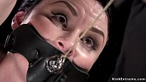 Slave with bush tormented in device bondage
