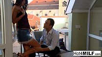 Hot European MILF gets an anal fucking outdoors