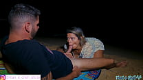 Hot Brazilian went for a walk on the beach at night and ended up sitting hard on her boyfriend's big cock, while she was afraid of reaching someone!