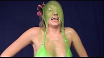 Hula girl gets slimy and rides dildo