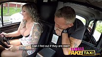 Female Fake Taxi Passenger is fascinated by her big boobs preview image