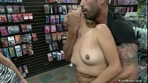 Petite blonde sucks big cock in sex shop