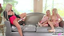 Horny stepmom squirts on her stepdaughters