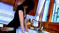 Pornstar Lou Charmelle gets anal fucked by a large cock in the kitchen