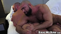 Hardcore dick sucking with two hunks who love raw bareback