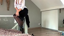 business woman after work strip and riding the ...