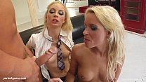 Sophie Logan and Jayla milking a guy in hardcor...