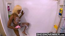 4K Heavenly Ebony Msnovember Fit Body Stepping Into Shower To Wash Hot Cum Off Her Magnificent Ass Cheeks & Large Areolas On Sheisnovember