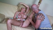 Sexy MILF Holly Sampson gets fucked on a sofa