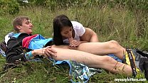Skinny teen Paula gets fucked outdoors Preview