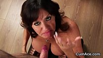 Frisky model gets jizz load on her face eating all the love juice's Thumb