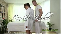 Screenshot Beautiful br unette gets massage with oil