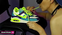 ASMR - Nike sneakers fetish. The girl licks the used shoes.